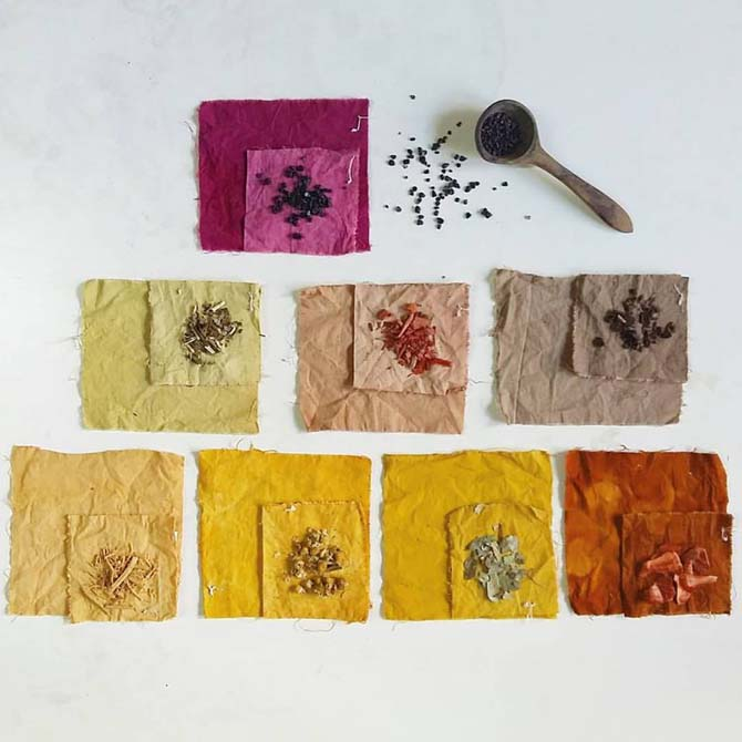Algodón teñido con tintes naturales_The Dyer's House_Escuela de Fibras & Tintes Naturales