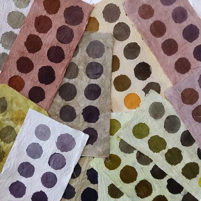 Estampación sobre algodón con tintes naturales_The Dyer's House_Escuela de Fibras & Tintes Naturales